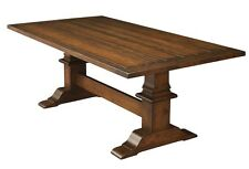 Amish Rustic Trestle Dining Table Plank Farmhouse Cabin Wood Furniture Country