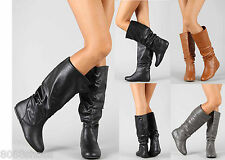 Women's Fashion Mid Calf Knee High Slouch Comfort Casual Flat Boot Shoes Size 7