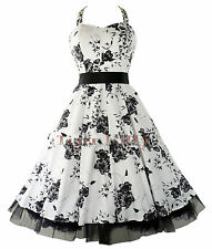 50's FLORAL PROM WEDDING DRESS WHITE & BLACK SIZE 8-18