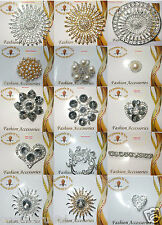 round pearl FASHION vintage BROOCH PIN BADGE crystal gem bling OCCASION WEDDING