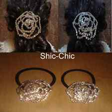 Shic-Chic Diamond Crystal Ponytail Scrunchie Hairband Wedding Party Hair Bun Tie