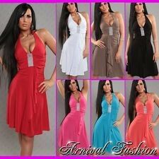 NEW WOMEN'S CASUAL WEAR SEXY HALTER DRESS size 8 10 12 LADIES HOT FASHION S M L