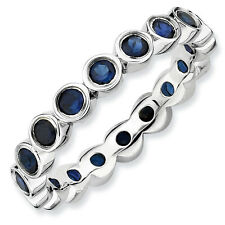 Silver Stackable Ring Round Created Sapphire Stones, September Birthstone QSK394