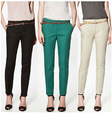 New Women OL Girls Casual Candy Color Skinny Slim Belted Pants Trousers
