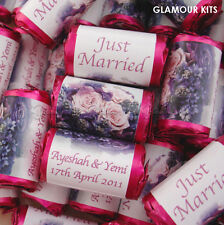 100 PERSONALISED LILAC ROSE MINI LOVE HEART SWEETS WEDDING PARTY FAVOURS