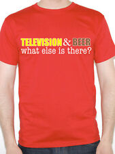 TELEVISION AND BEER WHAT ELSE IS THERE? - TV / Funny Men's Themed T-Shirt