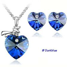 Austrian Crystal Heart Pendant Chain fashion Necklace & Earrings Jewellery set