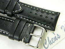 HQ ITALY GOAT LEATHER RACING GT RALLY BLACK WATCH BAND 20 22 24MM WHITE STITCH