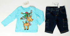 NWT girls size 6 9 12 18 24 months TCP reindeer & elf aqua top & denim jeggings!