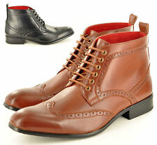 New Mens Leather Lined Formal Chelsea  Ankle Brogue Shoes Boots UK Sizes 6-12