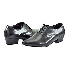 D'Italo 5633 Mens BLACK Leather Comfort CUBAN HEEL Lace-Up Fashion Dress Shoe