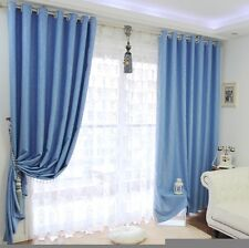 Pair of Blockout Eyelet Ring Top Curtains in Embossing Floral Design 5 Colors