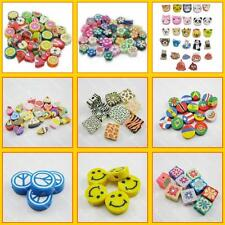 100 500 1000 Nail Art DIY mixed fimo Polymer Clay Spacer Beads Hole 6mm 10mm New