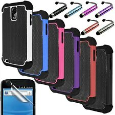 Pen+Hybrid Rugged Rubber Hard Case Cover For Samsung Galaxy S2 T989+Screen Guard