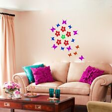 60 Butterfly Flower Art Children Wall stickers Car Decals 16 Colours choice