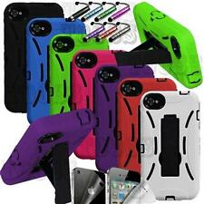 DUAL LAYER RUGGED IMPACT HYBRID HARD W/ STAND CASE COVER APPLE IPHONE 4 4G 4S