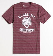 Element Tigers Tee Mens SLIM FIT Red Heather Stripe Triblend T-Shirt New NWT