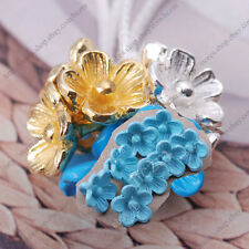 15pcs flower charm bead spacer jewelry findings accessory enamel painting DIY