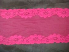 "1Y Fuchsia or White Floral Double Scalloped Stretch Soft Lace trim 7 3/4 "" S-9-3"
