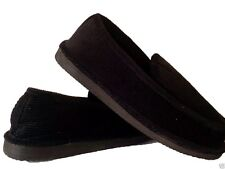 BLACK CORDUROY HOUSE SHOES LOOX SLIPPERS NEW SIZE 8 9 10 11 12 13