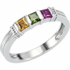 Sterling SILVER Mother's Birthstone Ring 1-3 Stones, Moms family Jewelry Ring
