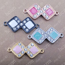 2pc crystal rhinestone double rhombus bracelet connector charm sideways painting