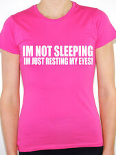 I'M NOT SLEEPING I'M JUST RESTING MY EYES - Humorous / Fun Themed Womens T-Shirt