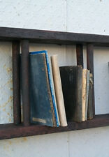 """Antique Wood Double Ladder Mounted for Book Shelves or Display Shelving 24"""" wide"""