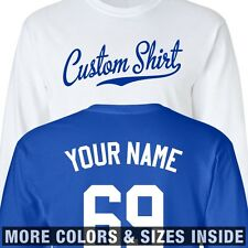 Custom Script & Tail LONG SLEEVE T-Shirt with Personalized Sports Name & Number