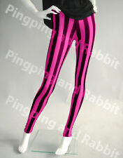 Pink and Black Vertical Stripes Mime Spandex Leggings Pants Candy Cane