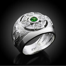925 Sterling Silver Celtic Mens Emerald Green CZ Ring