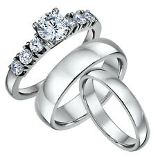 Titanium Engagement Ring & His & Hers Court Shaped 4&6mm Wedding Bands