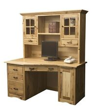 Amish Mission Computer Desk Hutch Solid Wood Home Office Rustic Furniture CPU