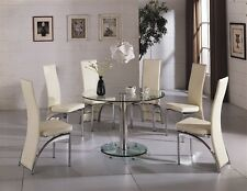 CAPRI ROUND GLASS CHROME DINING ROOM TABLE & 4 CHAIRS SET-FURNITURE- (IJ501-814)