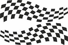 2 x CHEQUERED FLAG VINYL STICKERS 3 SIZES any colour race car van camper decal