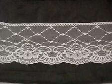 """1Y / 10 yards Pure White Scalloped Floral Lace Trim 6""""w. L-8Box SHIP FROM U.S.A"""