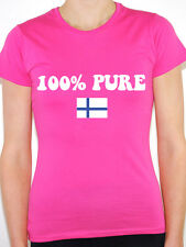 100% PURE FINNISH - Finland / Nordic / Flag / Novelty Themed Womens T-Shirt