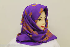 Ladies Velvet Arab Style Square Floral Paisley Wool Scarf Hijab Stole Neck Wrap