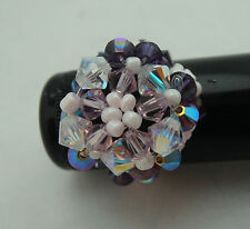 Swarovski crystal beaded RING - 4 different designs to choose from - adjustable