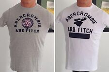 ABERCROMBIE & FITCH MENS 100% SOFT COTTON GRAPHIC TEE T-SHIRT GRAY WHITE L NWT