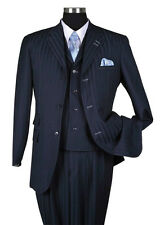 Men's Three Button 3pc Classic Striped Suit w/ Vest Navy Color All Sizes