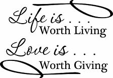 Life is worth living Vinyl Wall Home Decor Decal Quote Inspirational Adorable