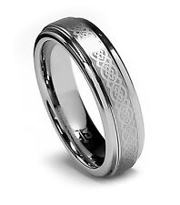5MM Womens Tungsten Ring Wedding Band Celtic Tungsten Carbide Ring Step High-NEW