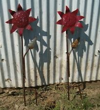 Wrought Iron Flowers Garden Sign Stake Home Decor Metal Yard Ornament Rustic Art