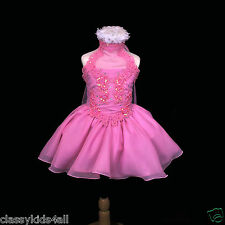 New Infant Toddler Girl Party National Glitz Pageant Short Pink Dress Size: 2-7