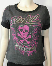 NWT SINFUL BY AFFLICTION WOMENS S/S 'cheer crop top' T-SHIRT black SIZES: S-L