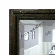 Ribbed Weathered Pine Beveled Wall Mirror, Mantle & Bathroom Art Decor 77845-900
