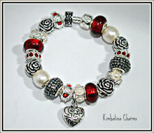 EUROPEAN STYLE silver CHARM BEAD BRACELET red gray pearl