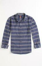 Quiksilver Badlands Woven Flannel Blue Stripe Long Sleeve Button Up Shirt NWT