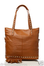 LADIES DESIGNER STYLE TOTE BAGS WITH STUDDED HANDLES & BASE BNWT 6 COLOURS